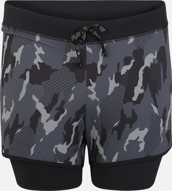 Only Play Curvy Sporthose 'ONPJOY LIFE AOP TRAINING SHORTS CURVY' in anthrazit, Produktansicht