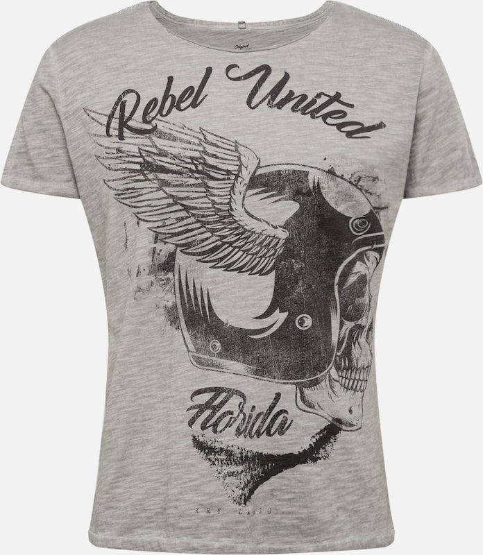 Key Largo Shirt 'MT REBELS UNITED' in de kleur Zilver, Productweergave