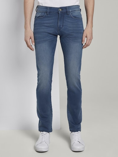 TOM TAILOR Jeanshosen Troy Slim Jeans in Sweat-Optik in blau, Modelansicht