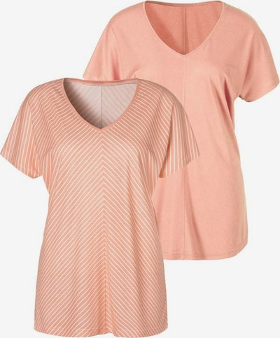 LASCANA T-Shirt in apricot / weiß: Frontalansicht