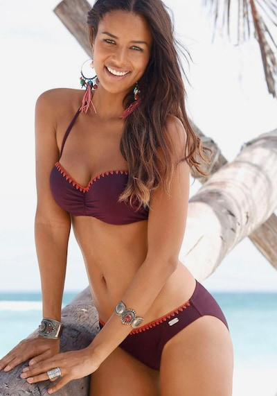 BUFFALO Bügel-Bandeau-Bikini in aubergine, Modelansicht
