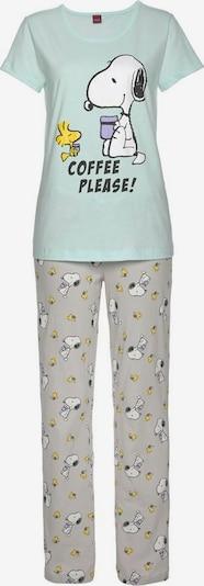 PEANUTS Pyjama in gelb / grau / mint / weiß, Produktansicht