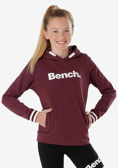 BENCH Sweatshirt in bordeaux / weiß: Frontalansicht