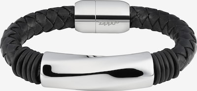 ZIPPO Armband Leder mit Edelstahl in schwarz / silber, Produktansicht