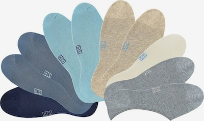 H.I.S Offene Füßlinge (10 Paar) in beige / blau / grau, Produktansicht