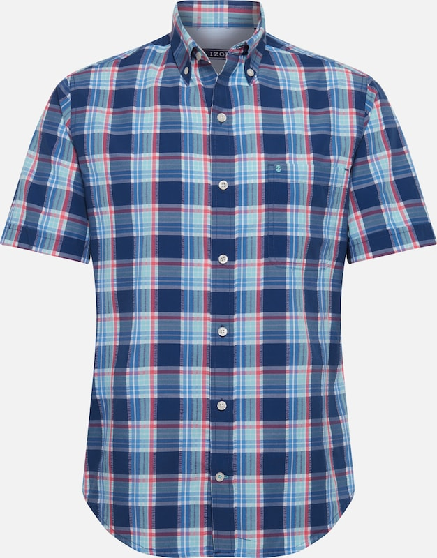 Shirt' 'seersucker Ss Bleu Bd Chemise En Izod Plaid JlKTcF1