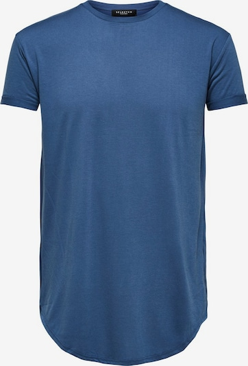 SELECTED HOMME Abgerundetes Maxi T-Shirt in blau: Frontalansicht
