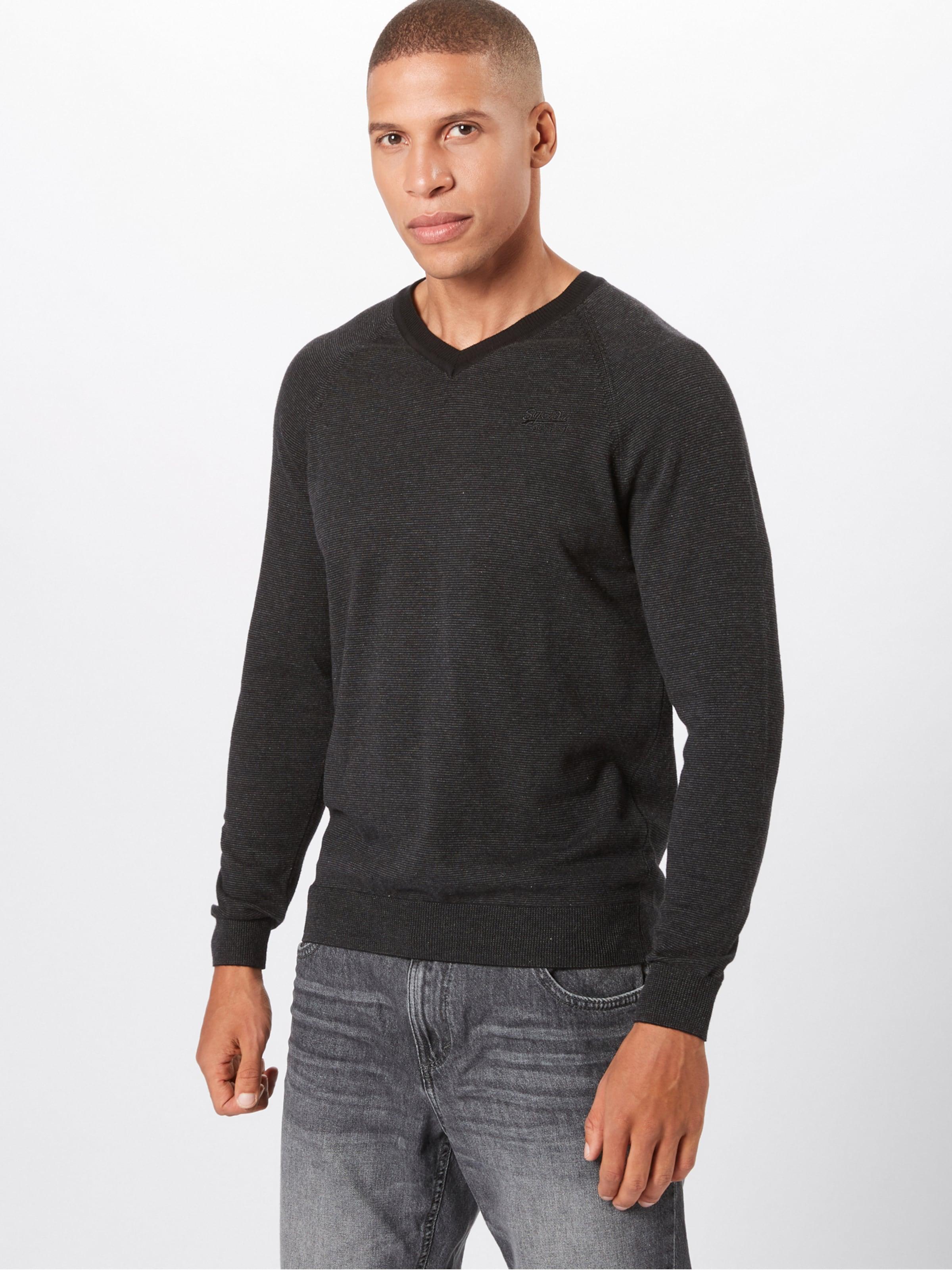 Pullover In Cotton Label Superdry Vee' 'orange Dunkelgrau 6yYbfg7v