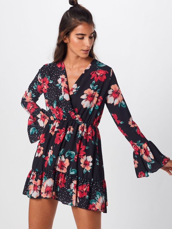 FeuNoir Dot Sleeve 'floral Polka Flared Rouge Missguided Robe Dress' En rdCtQsxh