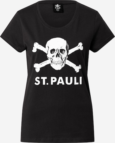 FC St. Pauli Shirt 'Totenkopf' in de kleur Zwart / Wit, Productweergave