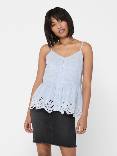 ONLY Top 'ONLLYDIA S/L TOP WVN' in blau: Frontalansicht