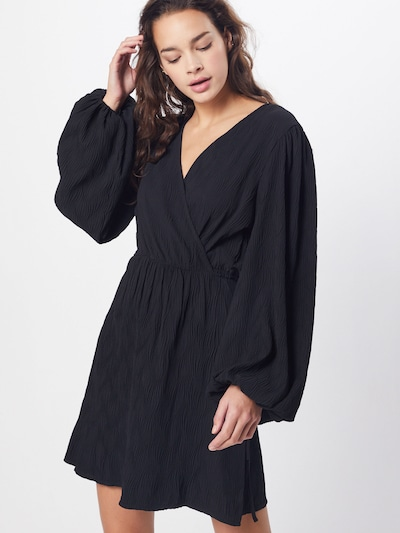 GLAMOROUS Jurk 'Ladies Dress-Black Plisse' in de kleur Zwart, Modelweergave