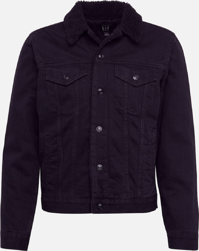 GAP Jacke 'V-SHERPA DENIM JACKET BLACK' in black denim, Produktansicht