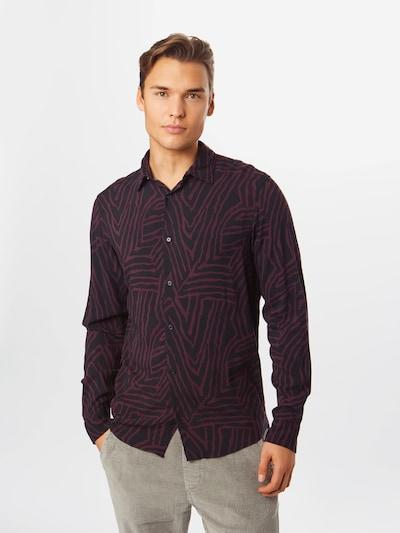 JACK & JONES Overhemd 'ARIZONA' in de kleur Wijnrood / Zwart: Vooraanzicht