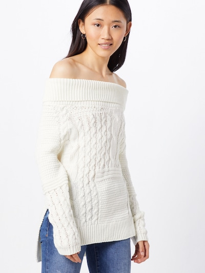 Boohoo Pullover 'Off The Shoulder Jumper with Side Splits' in weiß, Modelansicht