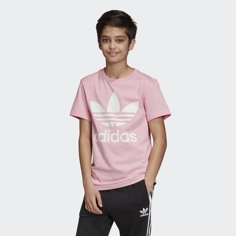 ADIDAS ORIGINALS Póló 'Trefoil' világos rózsaszín fehér