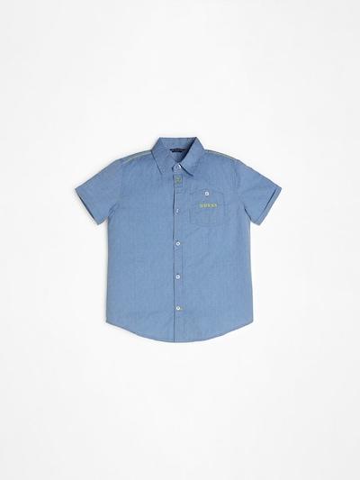 GUESS KIDS Guess Kids HEMD POPELINE JACQUARD in blau, Produktansicht