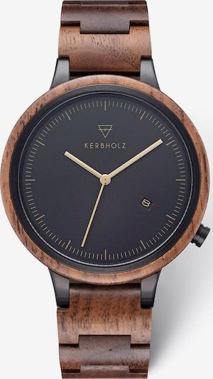 Kerbholz Uhr in braun / schwarz, Produktansicht