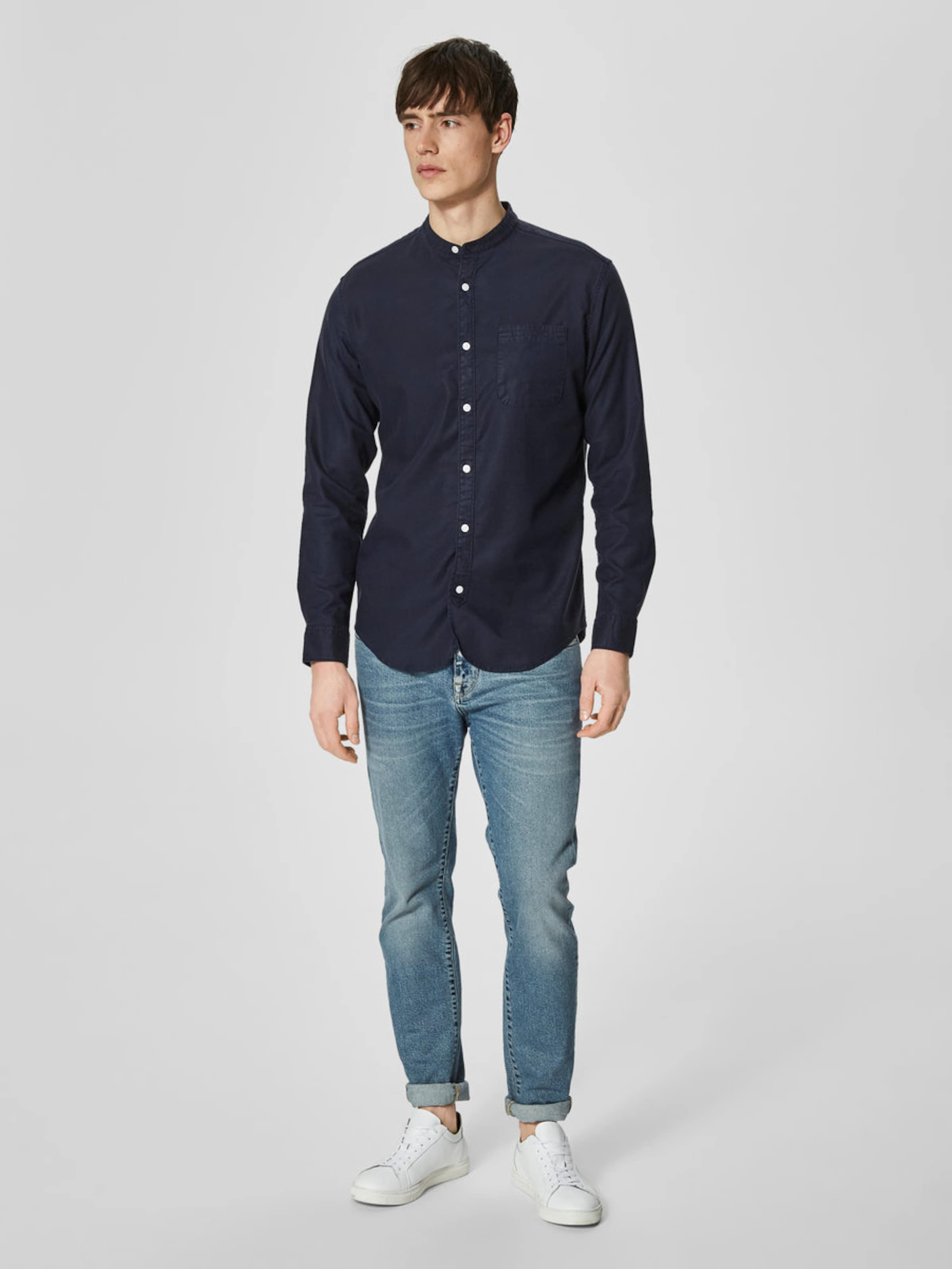 SELECTED HOMME Mandarinkragen Slim Fit Hemd Bekommen UoItK8H