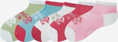 H.I.S Füßlinge in hellblau / apfel / pink / weiß, Produktansicht