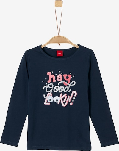 s.Oliver Junior Shirt in dunkelblau / rosé / silber: Frontalansicht