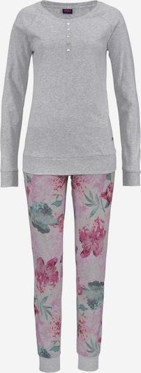 BUFFALO Langärmliger Pyjama mit Blumenprint in graumeliert / rosa, Produktansicht