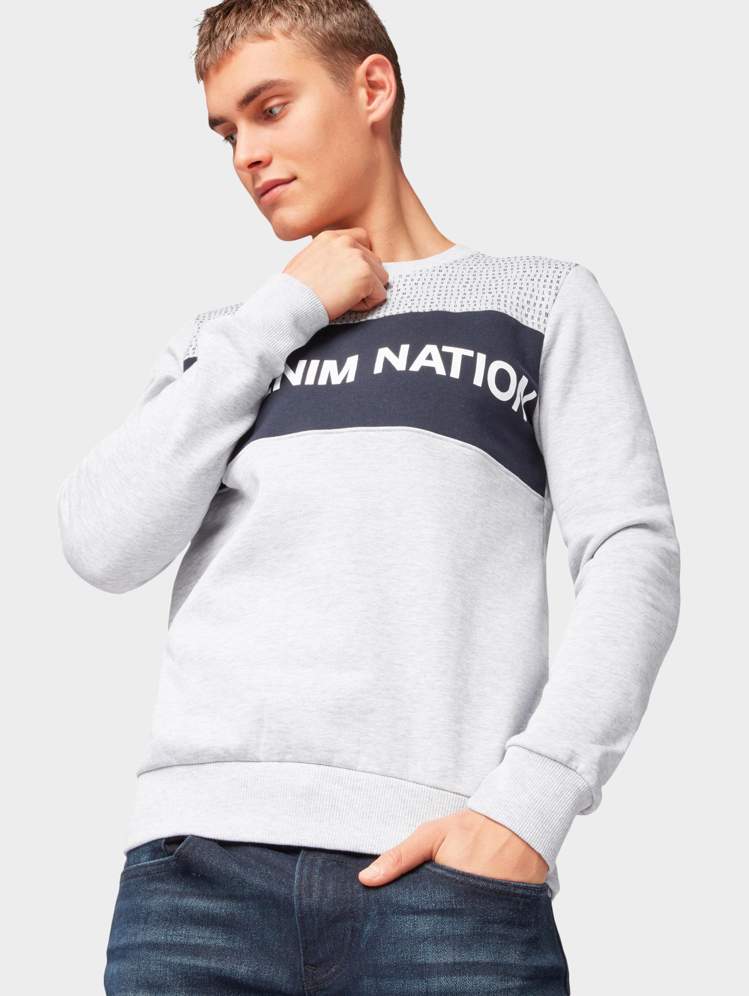 Sweatshirt Denim In NachtblauHellgrau Tom Tailor Weiß ymP8nO0vNw