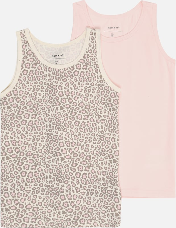 NAME IT Unterhemd 2er Set 'NMFTANK TOP' in beige / rosa: Frontalansicht