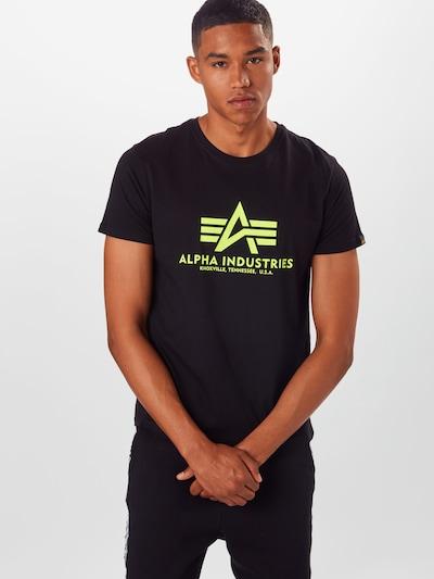 ALPHA INDUSTRIES Koszulka 'Basic T Neon Print' w kolorze neonowo-żółty / czarnym: Widok z przodu