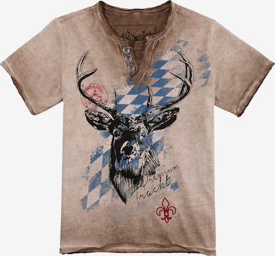 HANGOWEAR Trachtenshirt in blau / braun / rot, Produktansicht