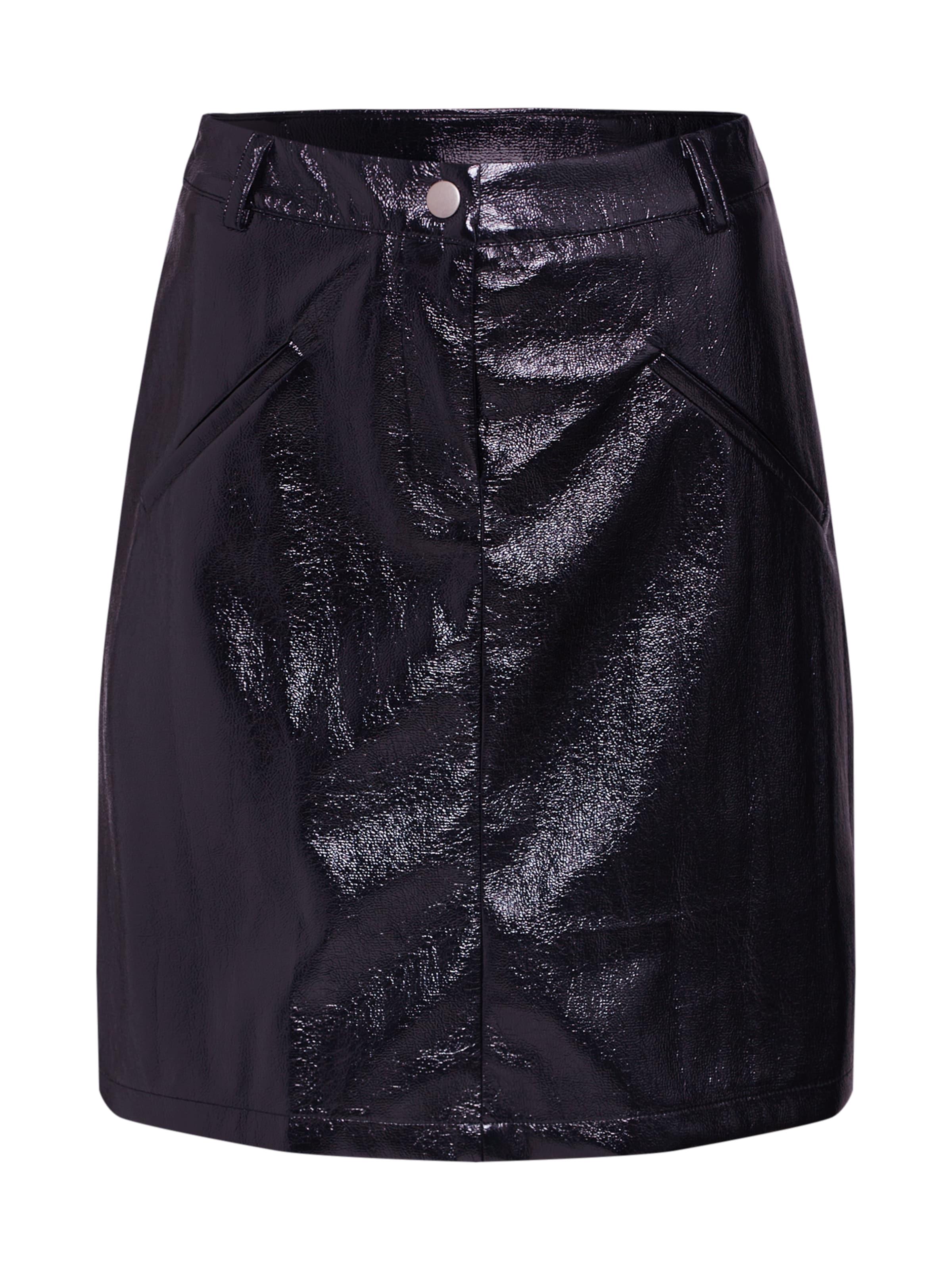 Textured Jupe 'patent Pu' Boohoo Noir En nNOPkw8ZX0