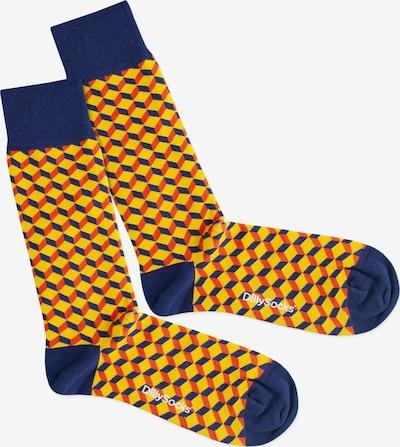 DillySocks Nogavice 'Vivid Dice' | modra / rumena / rdeča barva, Prikaz izdelka