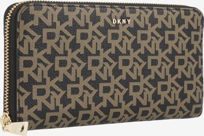 DKNY Geldbörse 'BRYANT' in dunkelbraun / dunkelgelb / gold: Frontalansicht