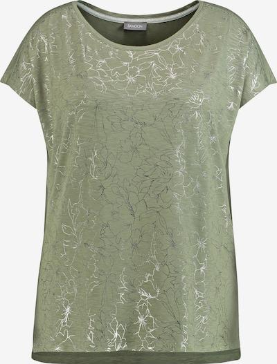 SAMOON T-Shirt Kurzarm Rundhals T-Shirt mit Folienprint in grün / silber, Produktansicht