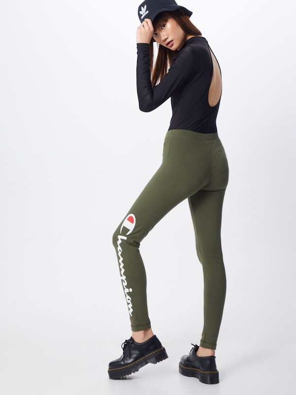 Champion Authentic Athletic Apparel Leggings in oliv: Rückansicht