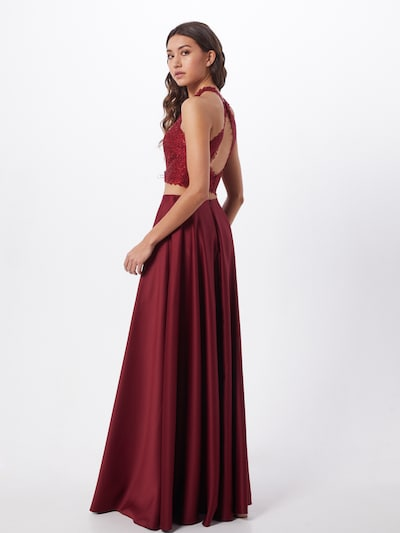 mascara Kleid '2 PIECE SATIN' in weinrot, Modelansicht