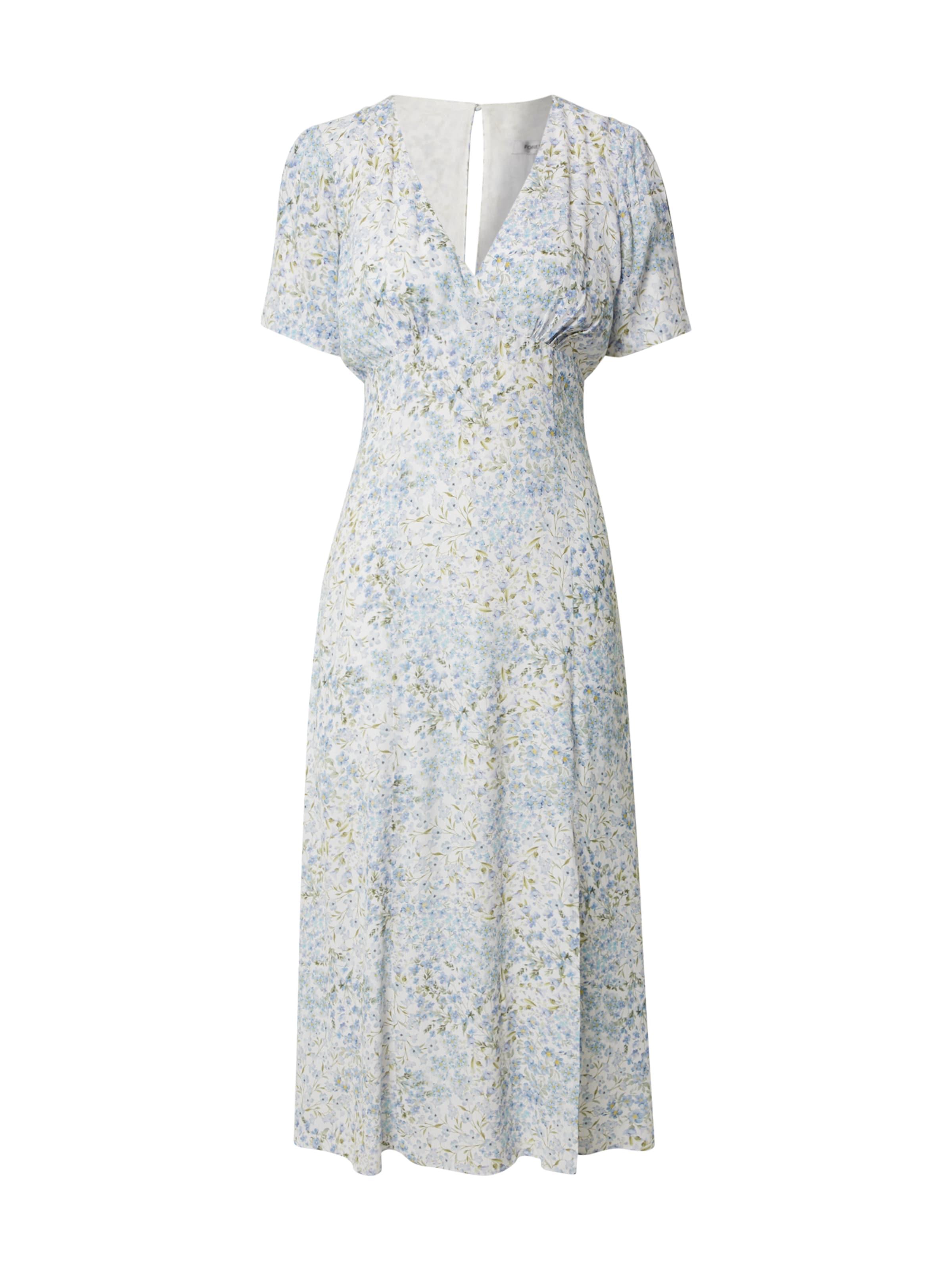 Forever New Nyári ruhák 'Jane Split' kék / fehér színben