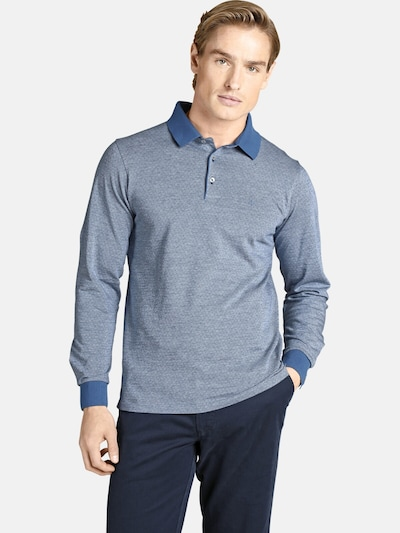 Charles Colby Langarm-poloshirt ' Earl Morgan ' in blau: Frontalansicht