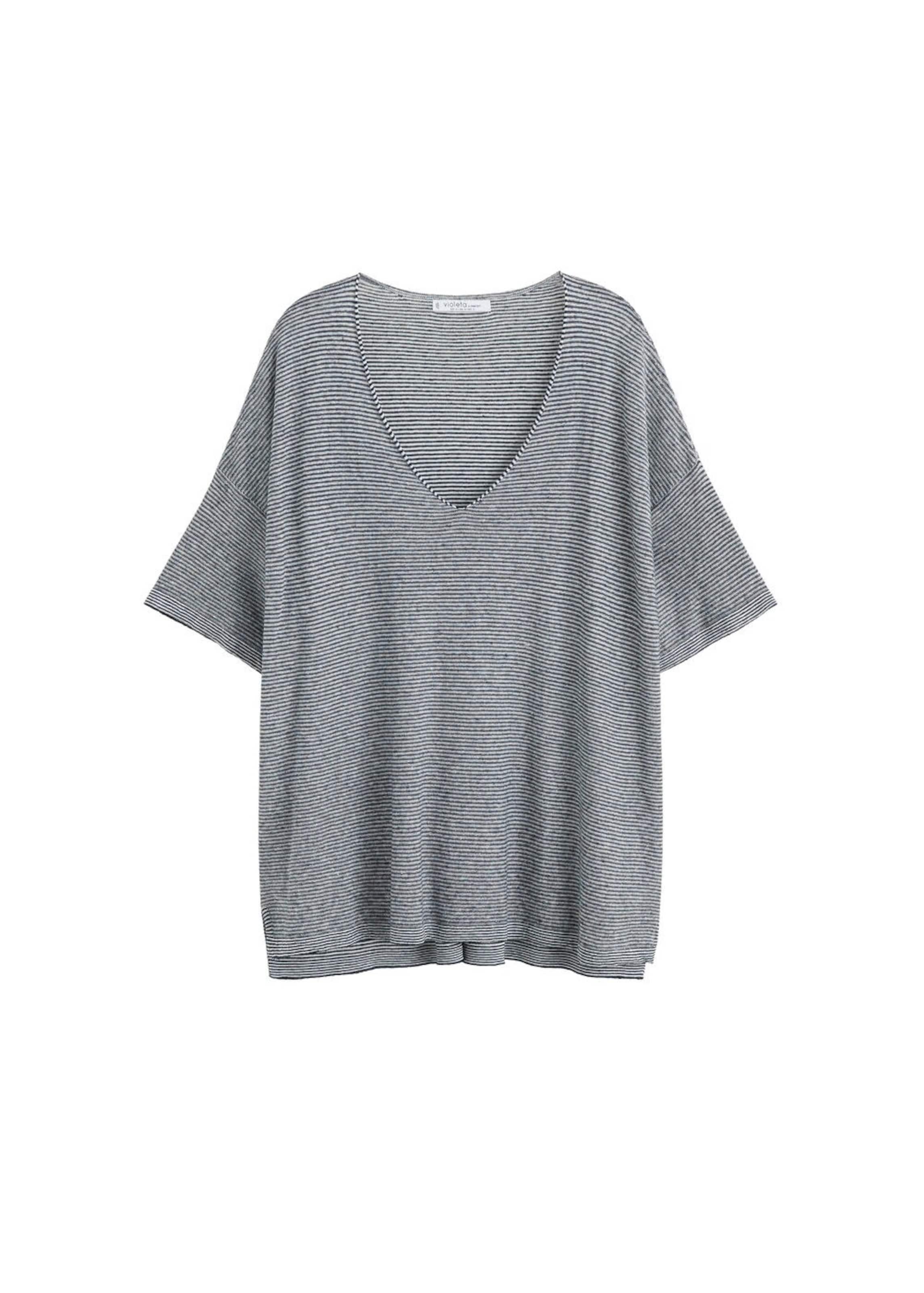 By Violeta In Shirt Mango 'misture2' Navy Ful1TKJc3