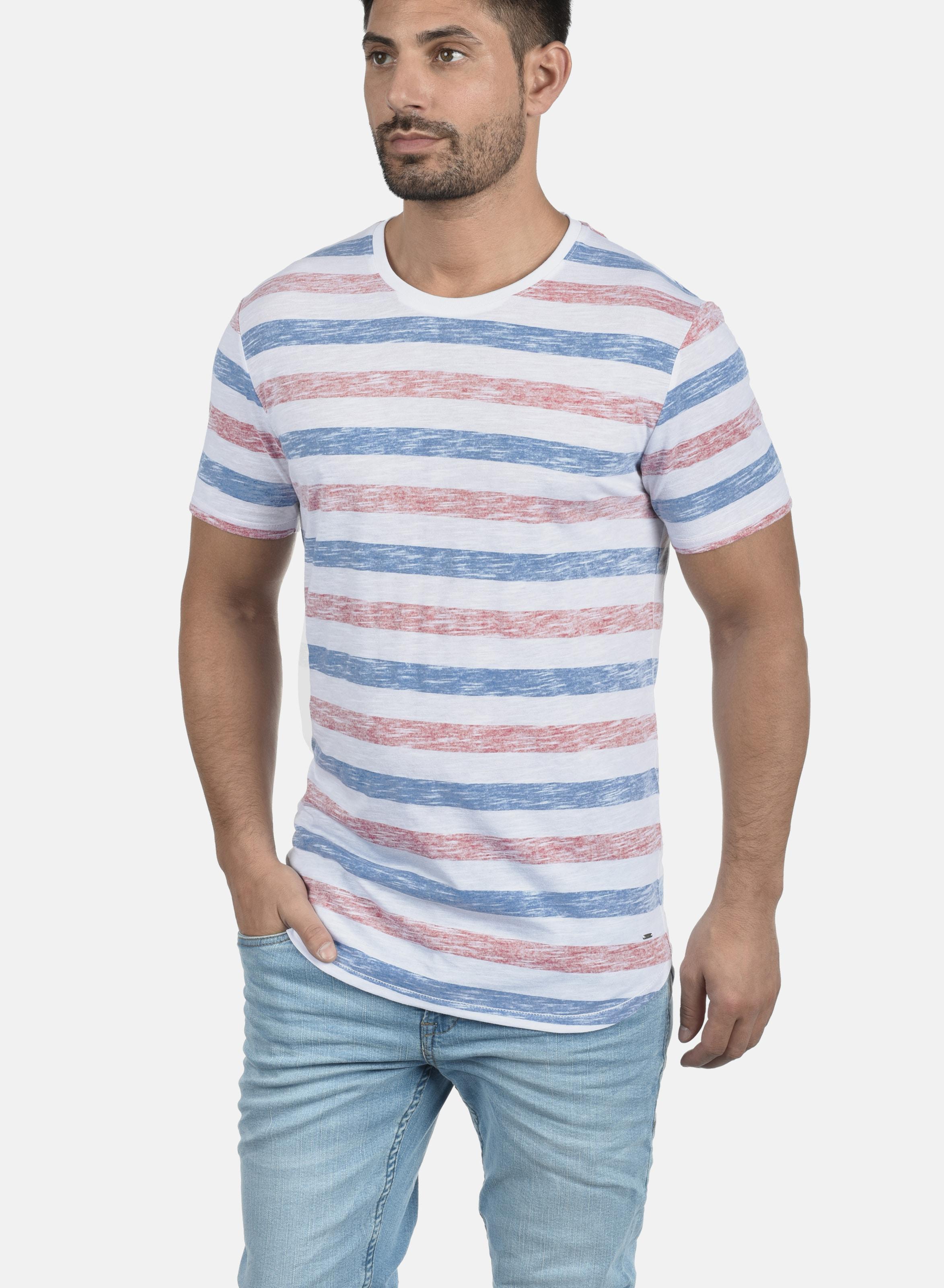 solid Rundhalsshirt 'tet' In BlauRot Weiß Rj5L4A