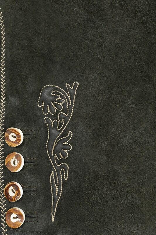 MARJO Trachtenlederhose kurz mit Stickerei