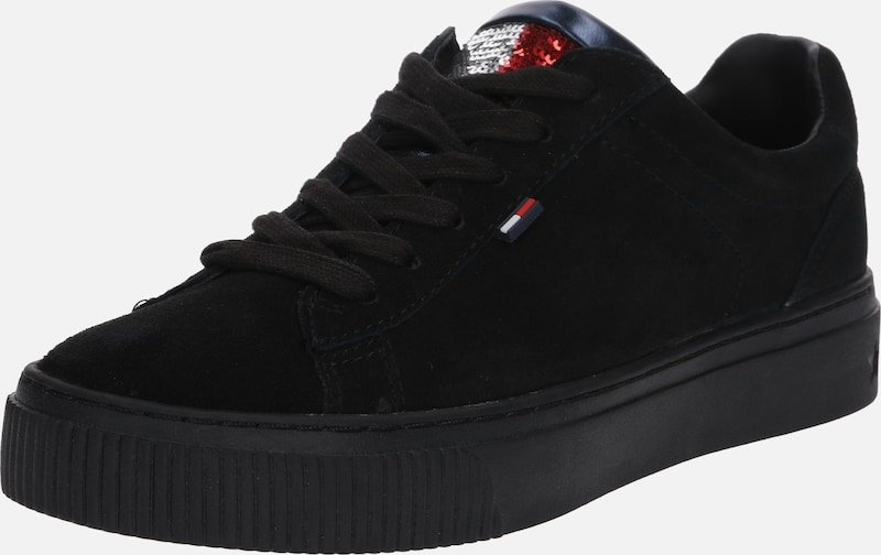 Tommy Jeans Star Sneaker' 'big Flag En Noir Baskets Basses Sparkle mwN8vn0