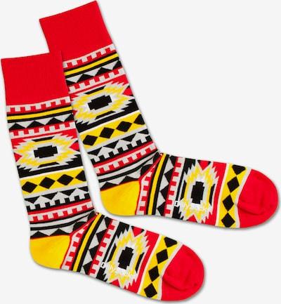 DillySocks Socken 'Native Sunset' in gelb / rot / schwarz / weiß, Produktansicht