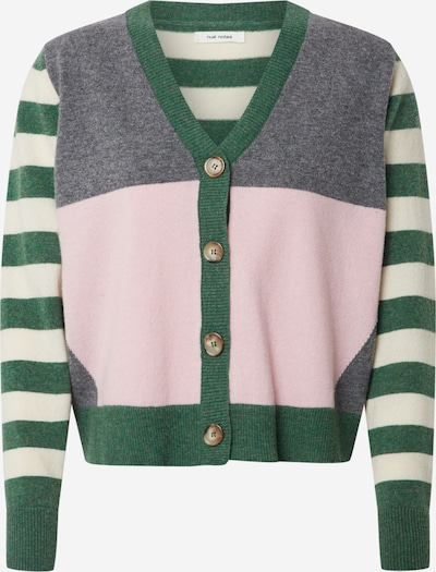 NUÉ NOTES Knit cardigan 'Charlie' in grey / green / pink / white, Item view