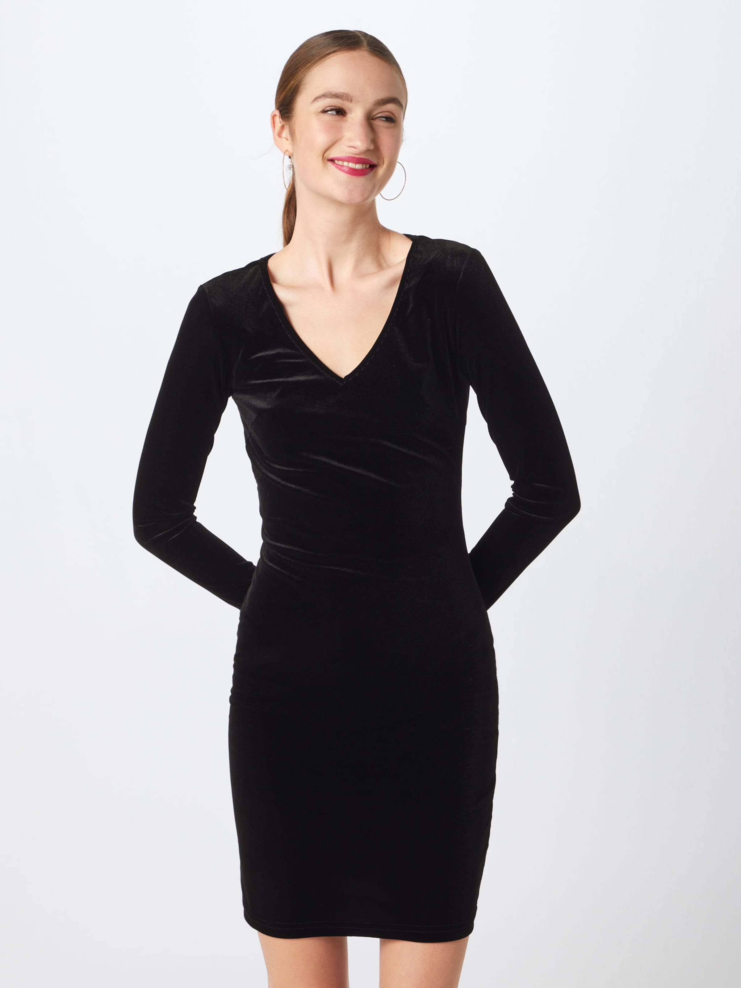 Schwarz Kleid In L Yong Dress De 'jdygorgeous Jrs' V s neck Jacqueline jL54AR3