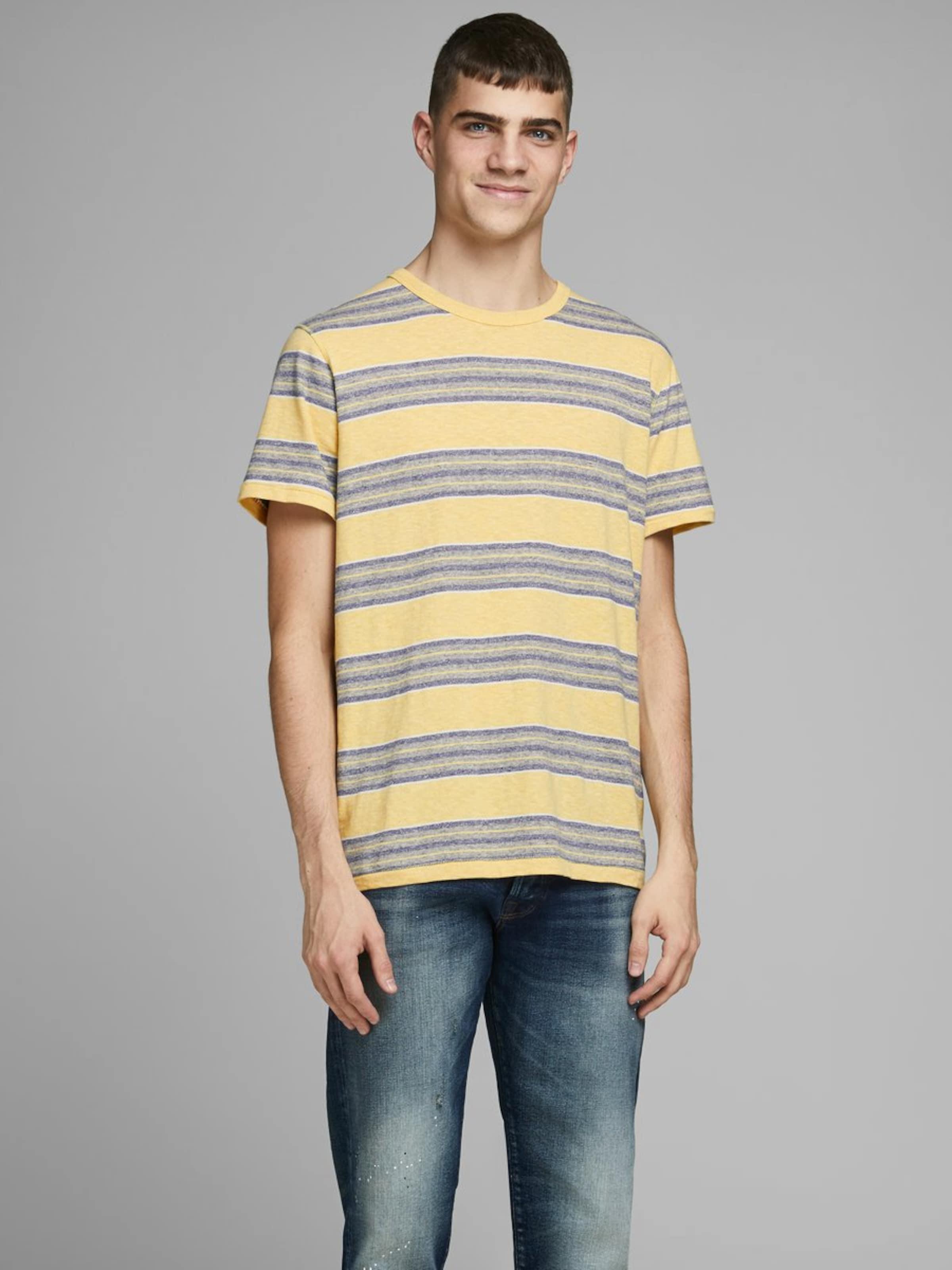 JACK & JONES Shirt in blau / gelb Baumwolle 5714499630819