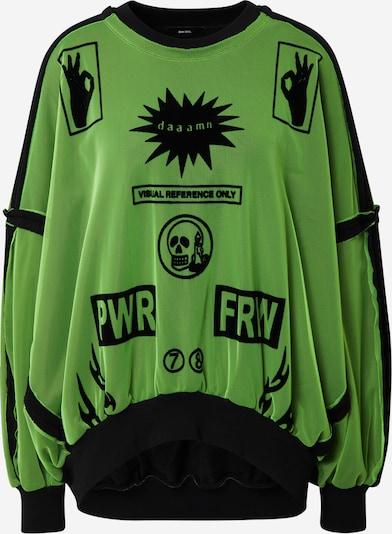 DIESEL Sweater majica u neonsko zelena / crna, Pregled proizvoda