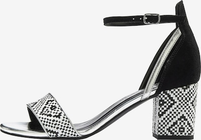 LASCANA Sandaletten in schwarz / silber / weiß, Produktansicht