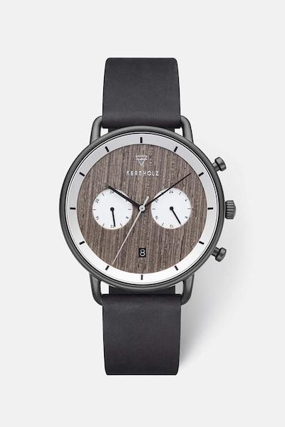 Kerbholz Uhr 'Herbert' in dunkelbraun / schwarz / weiß, Produktansicht