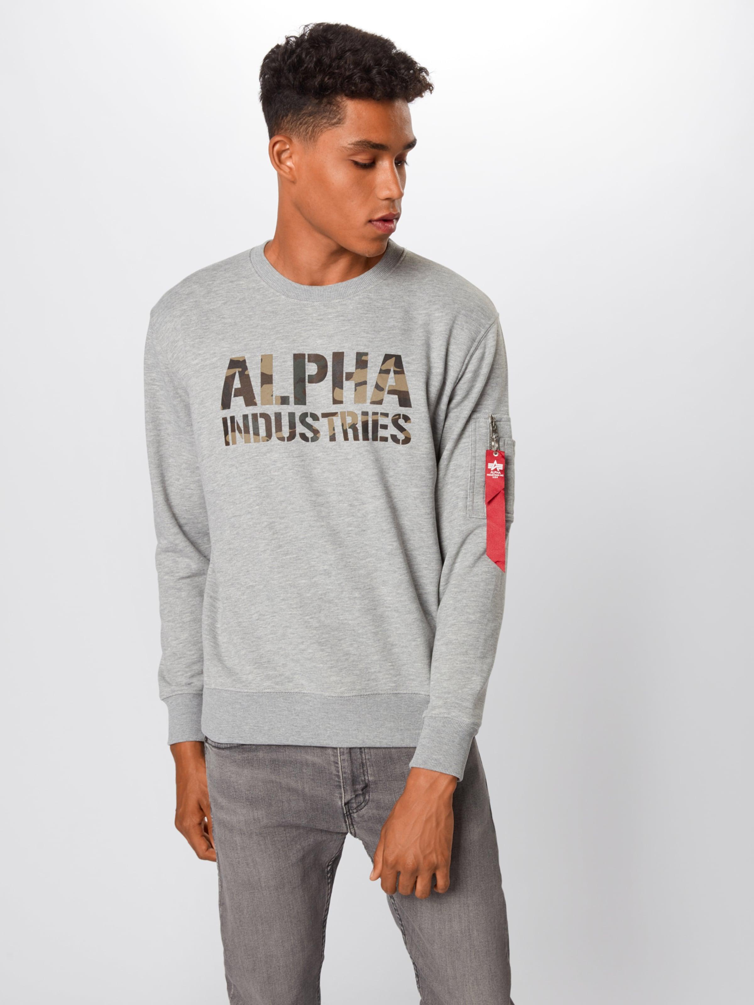 Alpha ChinéMélange De Industries Gris shirt En Sweat Couleurs wXPkN0O8nZ